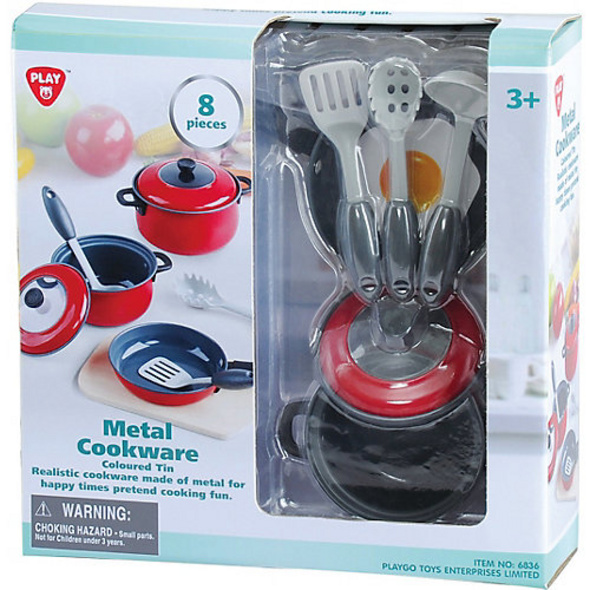 COLOURED TIN - RED  - 8 PCS (METAL COOKWARE)