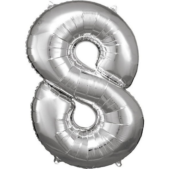 Super Shape Folienballon Silber, Zahlenballon 8, 53 x 83 cm