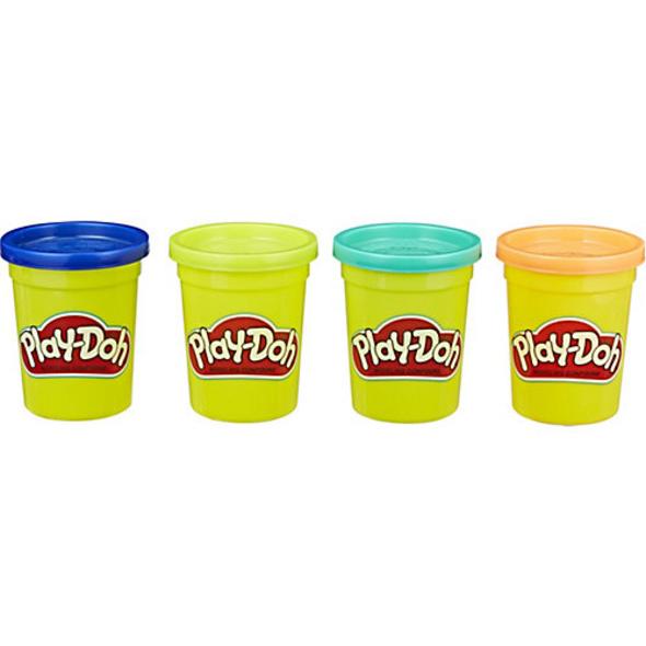 Play-Doh 4er Pack WILD (dunkelblau, limettengrün, türkis und orange), 4 x 112 g