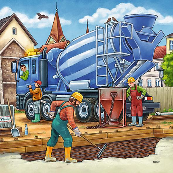 3er Set Puzzle, je 49 Teile, 21x21 cm, Große Baufahrzeuge Set