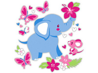 Puppenwagen Trendy, Elefanten Motiv, blau/pink