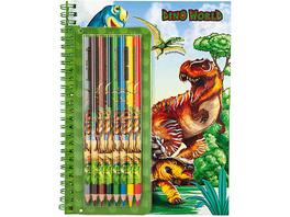 Dino World Malbuch mit 8 Buntstiften
